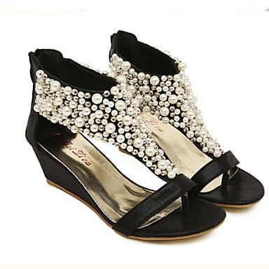 Plateau de semelle 03039596 Chaussures Femme Salomé Noir Doré Imitation Perle Similicuir Hauteur Eté compensée gwHYIwq