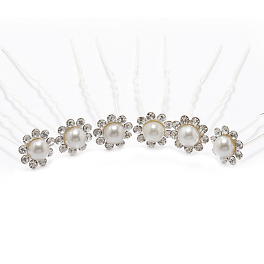 Imitation Pearl Rhinestone Alloy Headwear Hair Pin with Floral 1pc Wedding Special Occasion Headpiece
