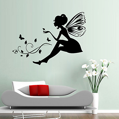 Wall Stickers Wall Decals, Style Carved Version Flower Fairy Maiden PVC Wall Stickers