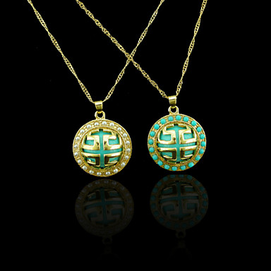 18K Real Gold Plated Pearl/Blue  Great Wall Lines Pendant 2.3*3CM