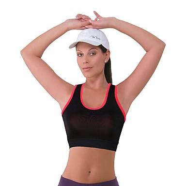 Жен. Средний уровень поддержки Укороченный топ для бега Дышащий Спортивные бюстгальтеры Безрукавка Верхняя часть для Йога Пилатес