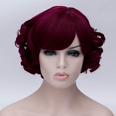 Synthetic Hair Wigs Wavy With Bangs Capless Cosplay Wig Red