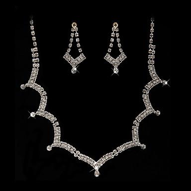 Halskette / Ohrringe Brautkleidung Strass Imitation Diamant Aleación Silber Halsketten Ohrringe Für Hochzeit Party 1 Set