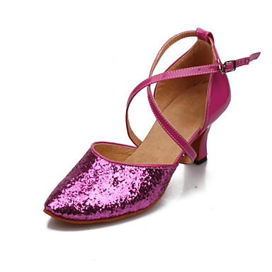 Women's Dance Shoes Latin Paillette Chunky Heel Pink/Red/Silver/Gold