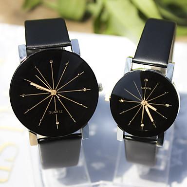 Couple Montre Habillée Montre Bracelet Quartz Imitation de diamant Cuir Bande Charme Noir Noir