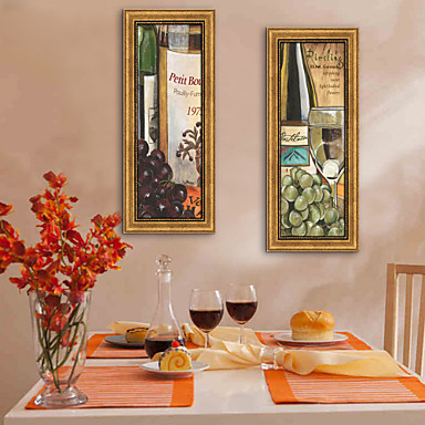 E-HOME® Framed Canvas Art, Grapes And Wine Framed Canvas Print Set of 3