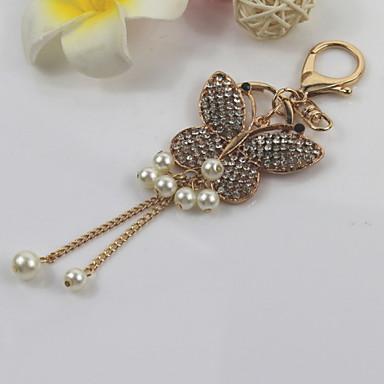 moda unisex parlayan elmas alaşım simüle-inci kelebek püskül kolye anahtarlıklar