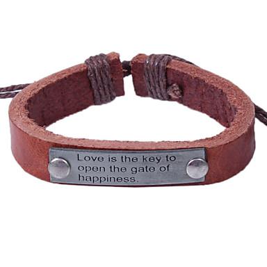 voordelige Herensieraden-Heren Lederen armbanden Armband Alfabetvorm Eenvoudig Europees Leder Armband sieraden Zwart / Koffie Voor Dagelijks Afspraakje