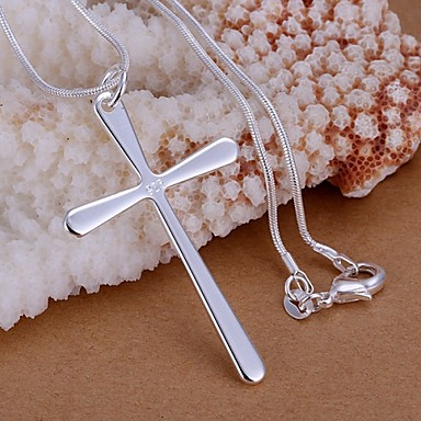 cheap Religious Jewelry-Women's Pendant Necklace Sterling Silver Cross Ladies Basic Simple Style Necklace Jewelry 1pc For Wedding Party Gift Daily Casual