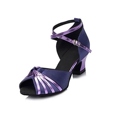 Kadın Latince Salsa Akın Saten Sandaletler Topuklular Yeni Başlayan Profesyonel İç Mekan Kalın Topuk Mor 4cm Kişiselletirilmemiş