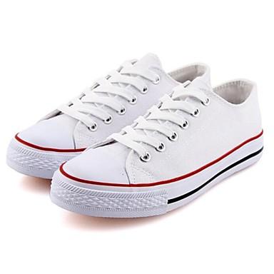 패션 스니커즈 - 캐쥬얼 - 여성의 신발 - 둥근 앞코 - 캔버스 - 플랫 - 블랙 / 화이트