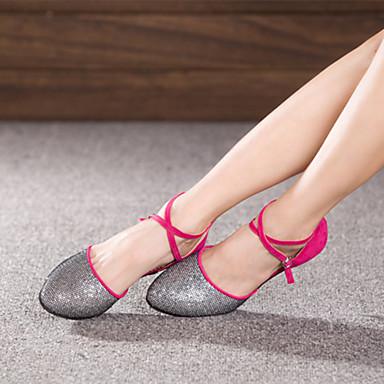baratos Shall We® Sapatos de Dança-Mulheres Sapatos de Dança Paetês / Camurça Sapatos de Dança Moderna Presilha Salto Salto Cubano Não Personalizável Preto / Fúcsia / Púrpura / EU36