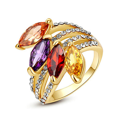 Mulheres Cristal Imitações de Diamante Anel de declaração - Forma Geométrica Clássico / Fashion Arco-Íris / Transparente / Champanhe Anel