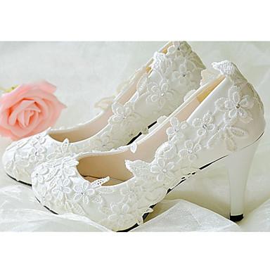 Damen Schuhe Leder Frühling Sommer Herbst Winter Blockabsatz Strass Blume Für Hochzeit Weiß