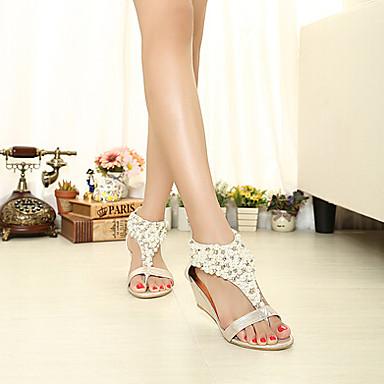 Salomé Noir semelle Eté Doré Chaussures compensée Femme 03039596 Hauteur Perle Imitation de Similicuir Plateau qwtn0F