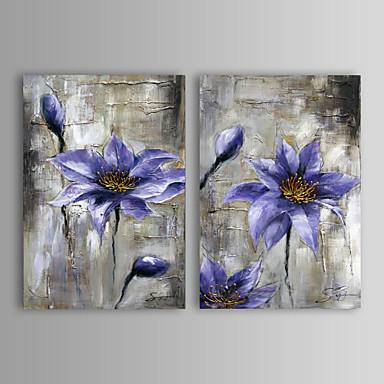 Kézzel festett Absztrakt / Virágos / Botanikus Két elem Vászon Hang festett olajfestmény For lakberendezési