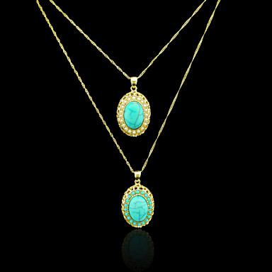18K Real Gold Plated Pearl/Blue Pendant Necklace