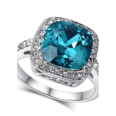 Női Kristály Fürt Nyilatkozat gyűrű - Hamis gyémánt 7 / 8 / 9 Kék Kompatibilitás Esküvő / Parti / Napi