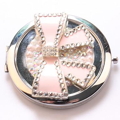 Pink bow Pocket Makeup Mirror Cosmetic Hand Portable Miroir Espelho Espejo De Maquiagem Bolso Maquillaje Bling