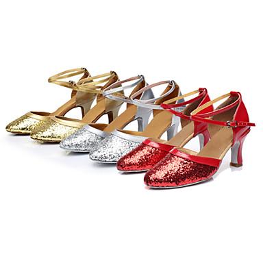 Damen Schuhe für modern Dance Paillette Sneaker Paillette / Band-Bindung / Schnürsenkel Kubanischer Absatz Maßfertigung Tanzschuhe Rot / Silber / Gold / Innen / Praxis / Professionell