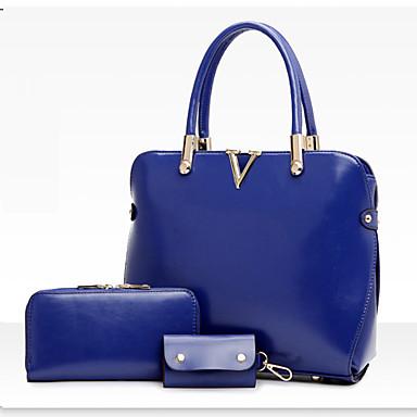 Women Bags PU Shoulder Bag Tote Bag Set 3 Pcs Purse Set for Shopping Casual Formal Office & Career All Seasons Black Fuchsia Brown Red
