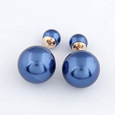 Femme Perle imitée Boucles d'oreille goujon / Boucles d'Oreilles Stylées Devant Derrière - Perle Violet, Bleu, Rose