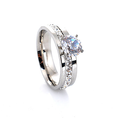 billige Motering-Dame Band Ring Forlovelsesring Belle Ring Diamant Kubisk Zirkonium Sølv Legering Fire tenger damer Luksus Europeisk Bryllup Fest Smykker Solitaire HALO Kjærlighed