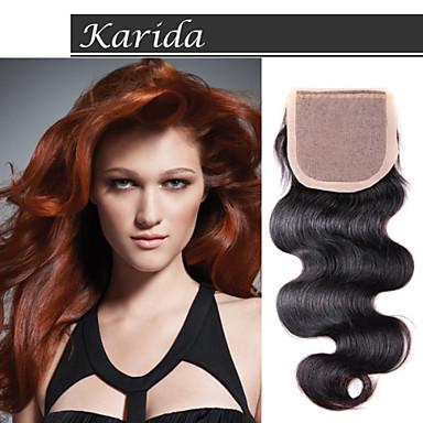 karida 머리 4 × 4 브라질 저렴한 스톡 실크 기지 폐쇄, 등급 6A 높은 품질의 처녀 페루 머리 실크 기지 폐쇄