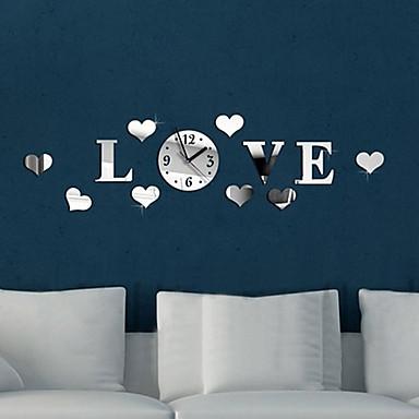 kalpler ev dekorasyonu için diy lüks duvar sanatı akrilik saati ayna çıkartmaları (gümüş) aşk