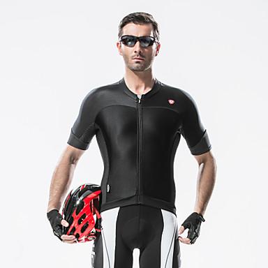 SANTIC Maillot de Cyclisme Homme Manches Courtes Vélo Maillot Hauts/Top Résistant aux ultraviolets Respirable Bandes Réfléchissantes