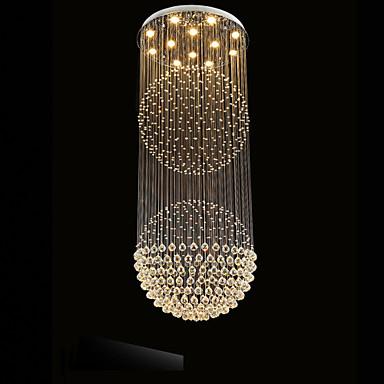 LED Pendant Light Modern Crystal Chandelier 12 Lights Silver