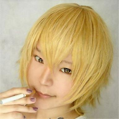 Жен. Парики из искусственных волос Короткие Естественные волны Желтый Мужская парик Парики к костюмам