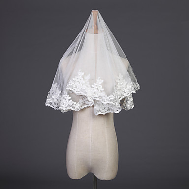 Egykapcsos Csipke szegély Menyasszonyi fátyol Könyékig érő fátylak A Hímzés 37,4 hüvelyk (95 cm) Tüll