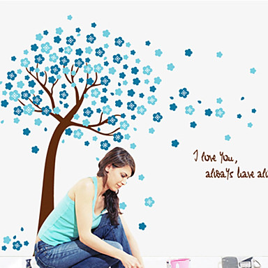 Wall Stickers Wall Decals,Cute Colorful PVC Removable the Blue Lucky Tree Wall Stickers.