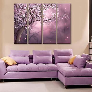 e-home® τεντωμένο καμβά πλήρη λουλούδι σύνολο διακοσμητική ζωγραφική της 4
