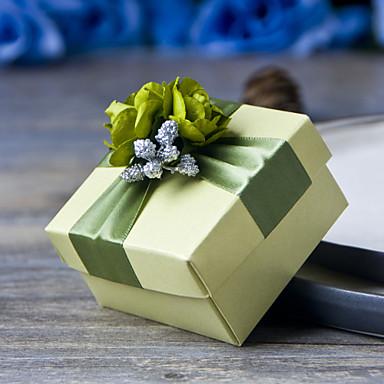 Κυβικό Χαρτί Περλέ Εύνοια Κάτοχος με Κορδέλες Λουλούδι Κουτιά Μποπονιέρων Κουτιά Δώρων - 6