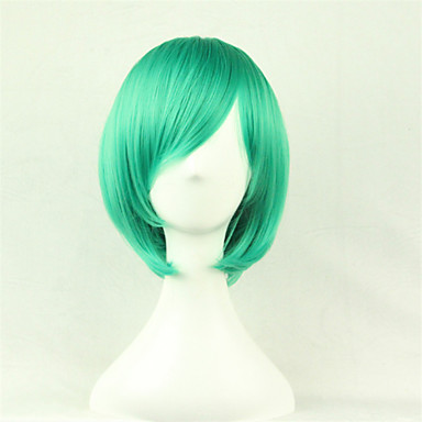 Women Synthetic Wig Short Straight Green Cosplay Wig Halloween Wig Carnival Wig Costume Wig