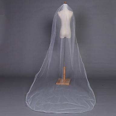 Voiles de Mariée Une couche Voiles chepelle Bord crayon 118,11 à (300cm) Tulle Blanc Ivoire