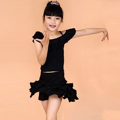 Latin Dance Outfits Children's Training Performance Polyester Short Sleeve Natural Top Skirt