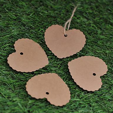 Kraft Paper  Labels (Set of 50)----Pattern Heart without Ribbon