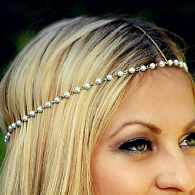 Kadın's İmitasyon İnci alaşım Saç Bandı Altın/Beyaz