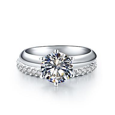 Femme Anneaux Diamant synthétique Mode Argent sterling Strass Platiné Infini Six Griffes Bijoux Mariage