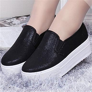 로퍼 - 캐쥬얼 - 여성의 신발 - 둥근 앞코 - 레더렛 - 플랫 - 블랙 / 실버