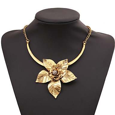 billige Vintage Hals-Dame Kubisk Zirkonium Uttalelse Halskjeder Origami Artisan Lotus Til hverdagsbruk Kubisk Zirkonium Gull Sølv Halskjeder Smykker Til Fest