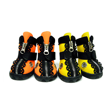 Dog Boots / Shoes Waterproof Solid Orange Yellow For Pets