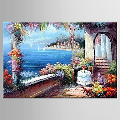 Maalattu Kukkakuvio/Kasvitiede / Abstraktit maisemakuvatPastoraali / European Style 1 paneeli Kanvas Hang-Painted öljymaalaus For