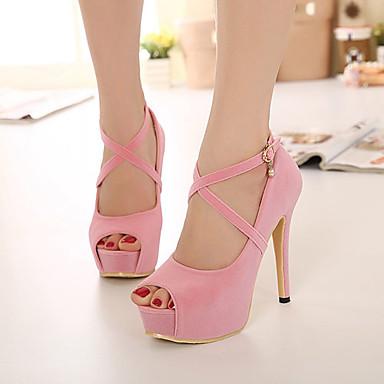 Для женщин Обувь Флис Весна Лето Осень На шпильке На платформе Назначение Для праздника Черный Пурпурный Красный Розовый