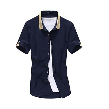 Koszule na Co Dzień - MEN - Zwykłe Kołnierz od koszuli - Krótki Rękaw Mieszanka bawełny )