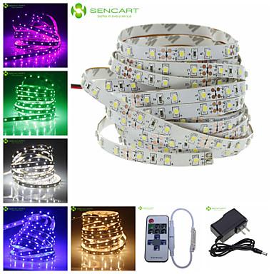 billige LED Strip Lamper-SENCART 5 m 300 LED 3528 SMD Varm hvit / Hvit / Rød Kuttbar / Koblingsbar / Passer for kjøretøy 100-240 V 1pc / Selvklebende