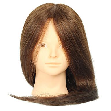 18 inç harmanlanmış kuaför bayan manken hiç makyaj renk kahverengi baş